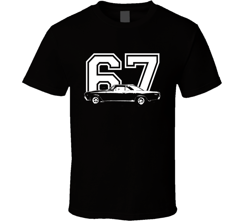 1967 CHEVY CHEVELLE Side View White Graphic With Year Dark T Shirt