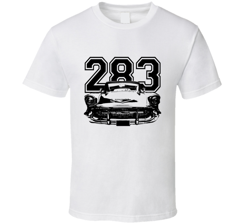 1957 Chevy Bel Air Grill View Black Graphic With Engine Size Light T Shirt