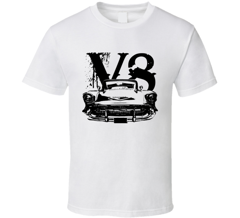 1957 Chevy Bel Air Grill View Black Graphic With V8 Light T Shirt