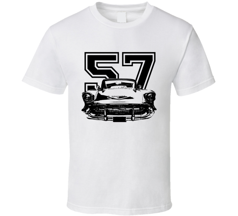 1957 Chevy Bel Air Grill View Black Graphic With Year Light T Shirt