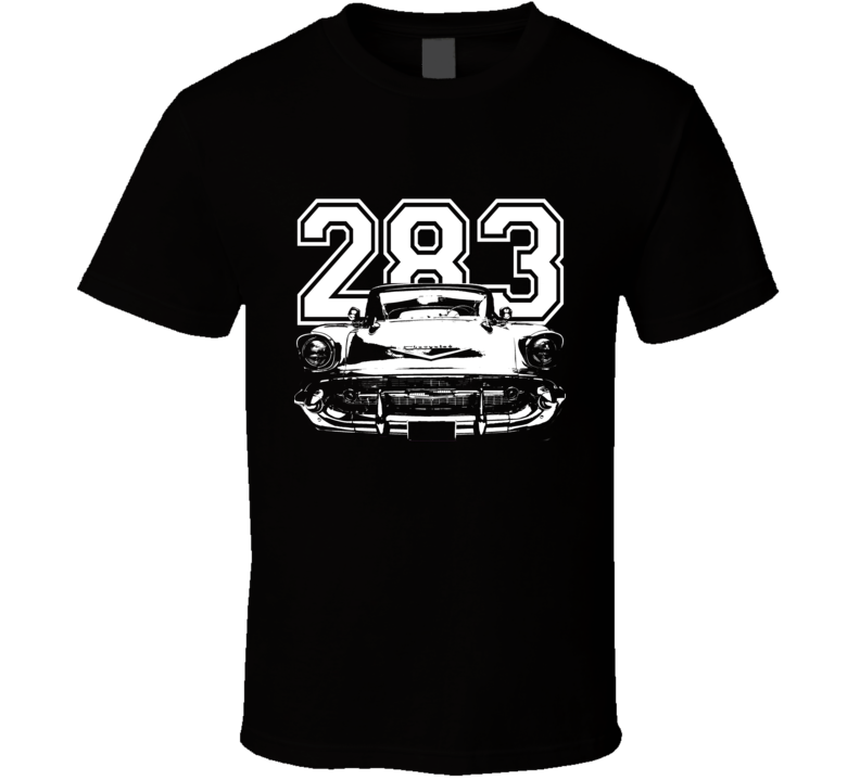 1957 Chevy Bel Air Grill View White Graphic With Engine Size Dark T Shirt