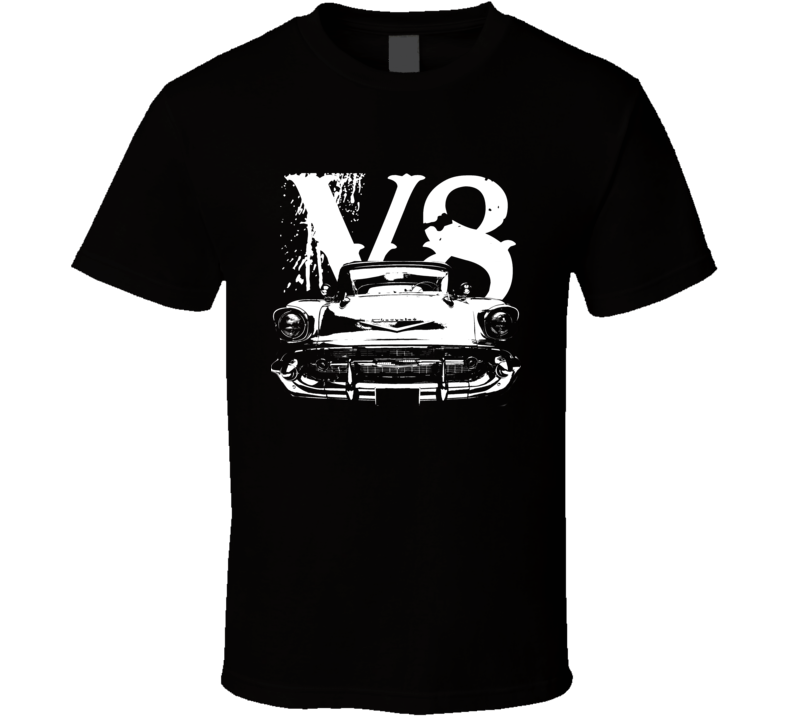 1957 Chevy Bel Air Grill View White Graphic With V8 Dark T Shirt