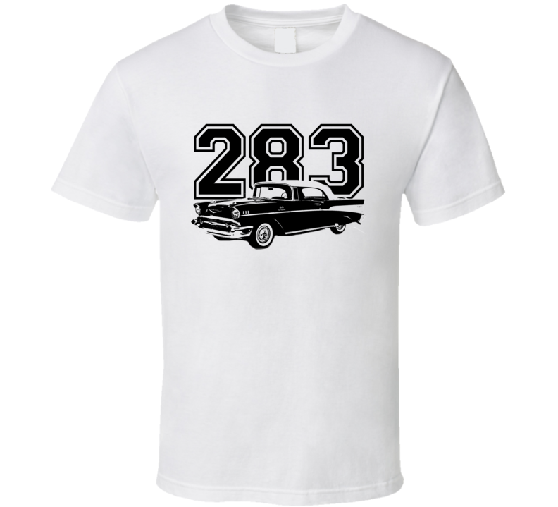 1957 Chevy Bel Air Side View Black Graphic With Engine Size Light T Shirt