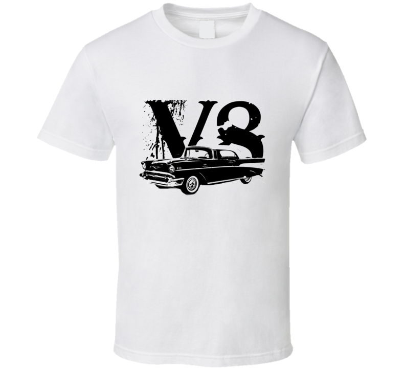 1957 Chevy Bel Air Side View Black Graphic With With V8 Light T Shirt