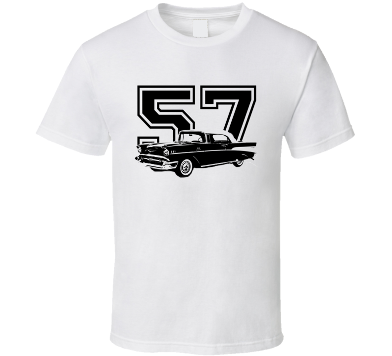 1957 Chevy Bel Air Side View Black Graphic With Year Light T Shirt
