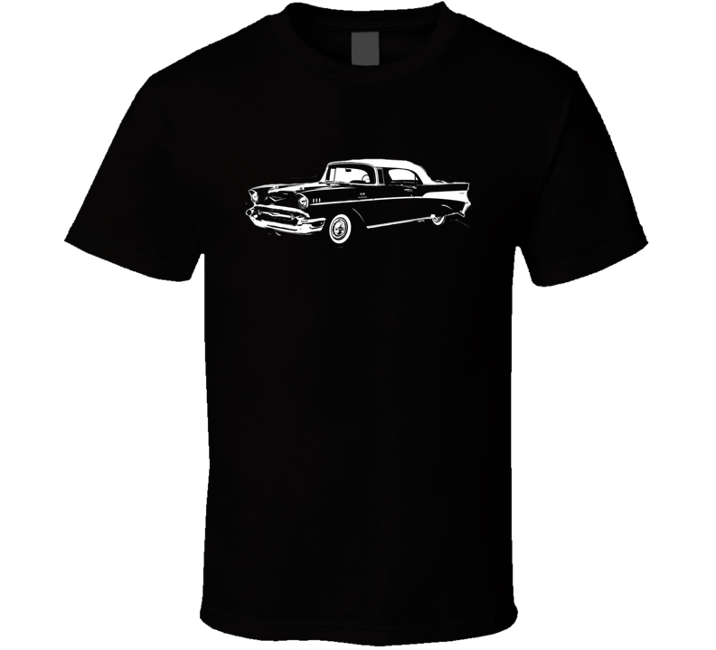 1957 Chevy Bel Air Side View White Graphic Dark T Shirt