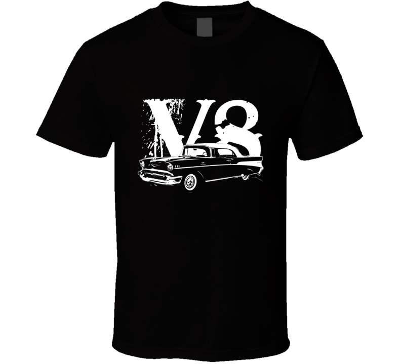 1957 Chevy Bel Air Side View White Graphic With V8 Dark T Shirt