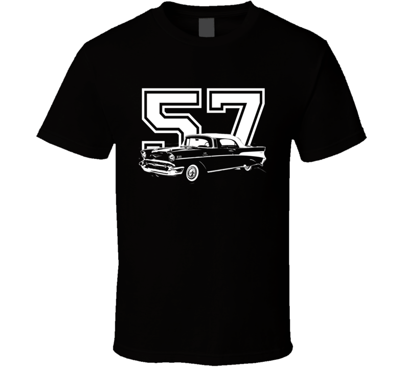 1957 Chevy Bel Air Side View White Graphic With Year Dark T Shirt