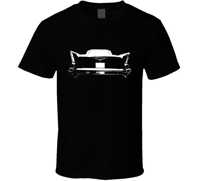 1957 Chevy Bel Air Rear View Black Graphic Light T Shirt