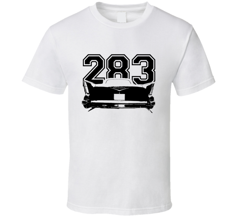 1957 Chevy Bel Air Rear View Black Graphic With Engine Size Light T Shirt