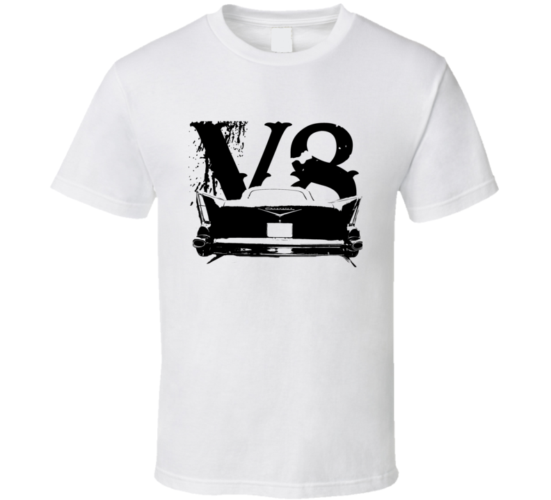 1957 Chevy Bel Air Rear View Black Graphic With V8 Light T Shirt