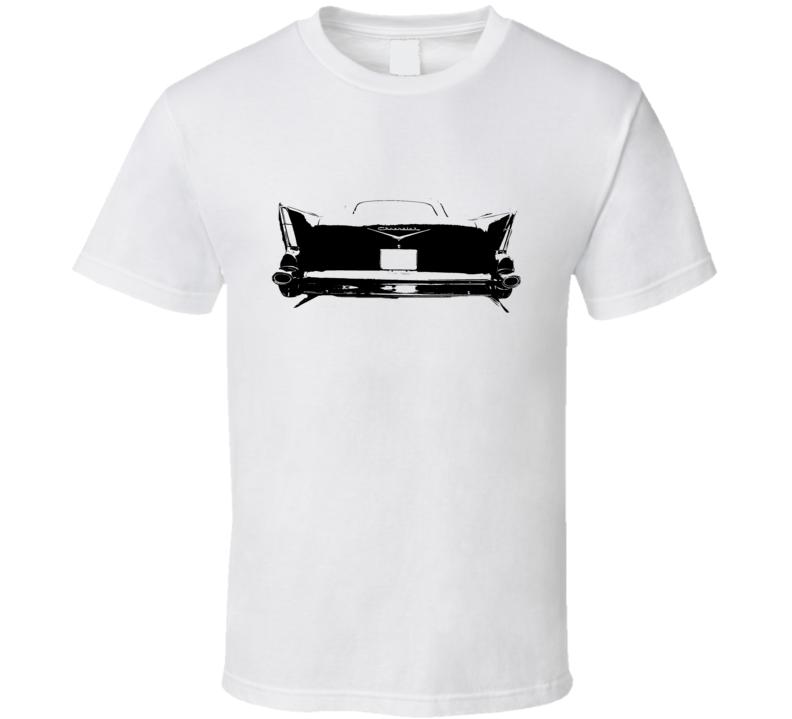 1957 Chevy Bel Air Rear View White Graphic Dark T Shirt