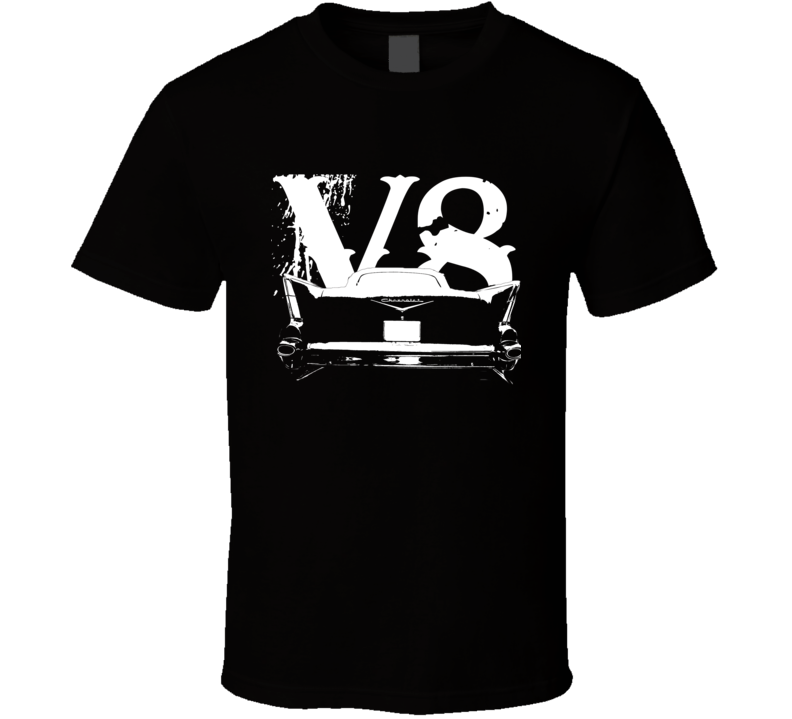 1957 Chevy Bel Air Rear View White Graphic With V8 Dark T Shirt