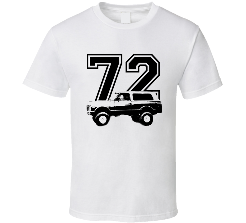 1972 Chevy Blazer Side View Black Graphic With Year Light T Shirt