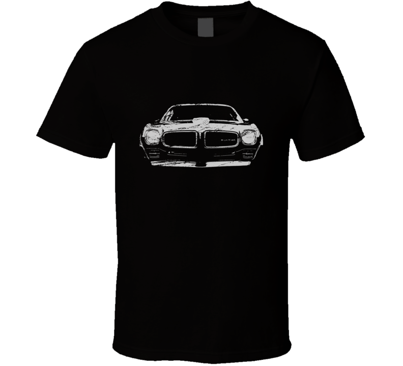 1970 1971 1972 1973 Pontiac Firebird Grill View Distressed Black T Shirt