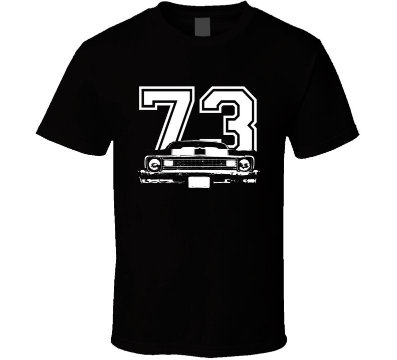 1973 Chevy Nova Grill View White Graphic With Year Dark T Shirt