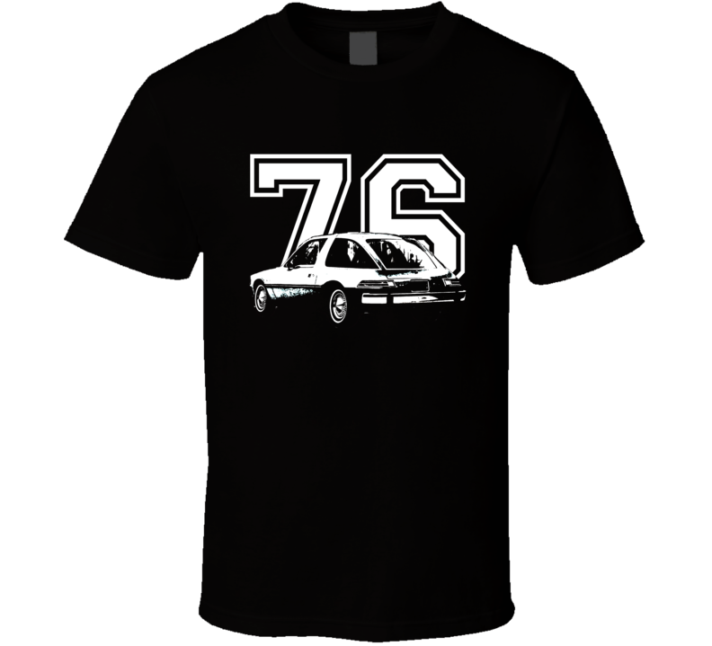 1976 AMC Pacer Side View White Graphic With Yerar Dark T Shirt