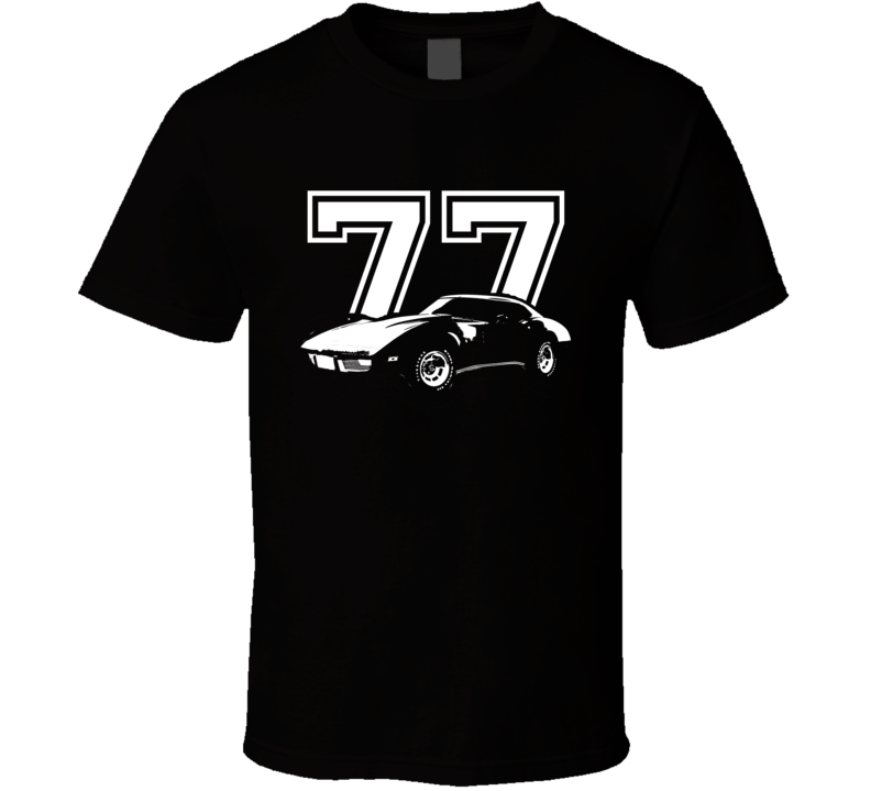 1977 CHEVROLET CORVETTE Side View Year Dark T Shirt