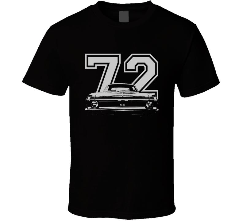 1972 Chevy Nova Grill View White Graphic With Year Dark Shirt