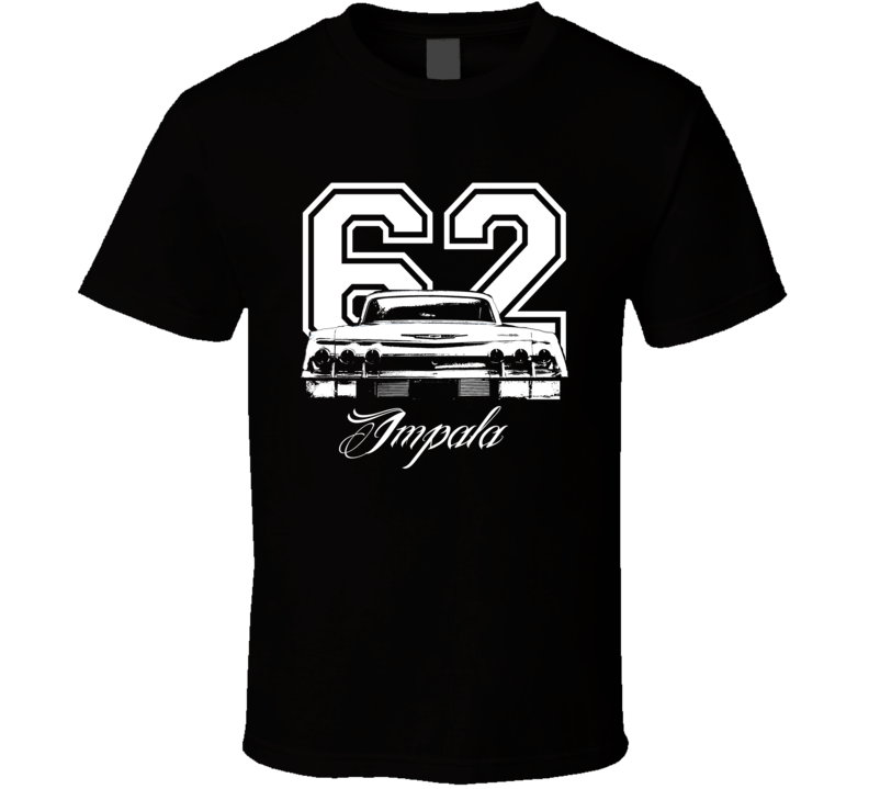 1962 Chevrolet Impala Rear View Year Model Black Graphic Light Shirt