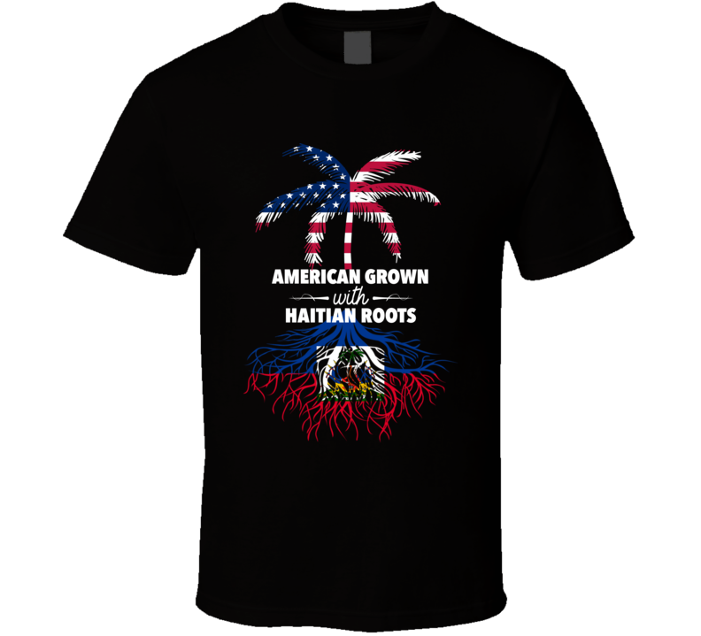 American Grown With Haitian Roots Palm Tree Shirt