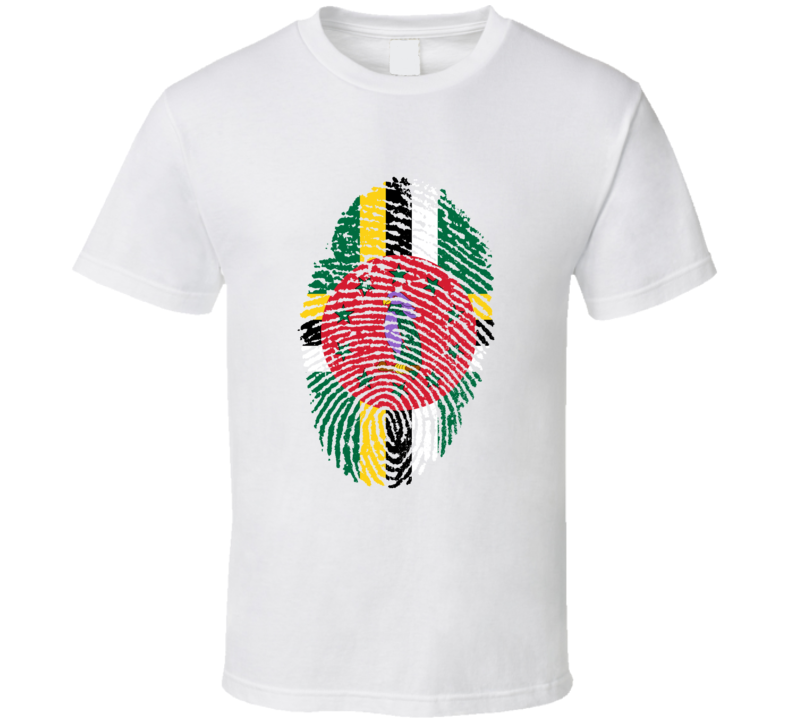 Dominica Flag Fingerprint I.D. Stamp Shirt