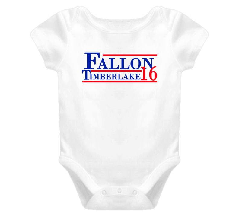 Jimmy Fallon / Justin Timberlake For President 2016 (Red/Blue Font) The Tonight Show Funny Baby One Piece