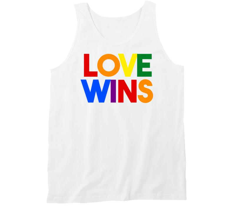 Love Wins - Gay Pride (Multi-Colour Bold Font) Tanktop