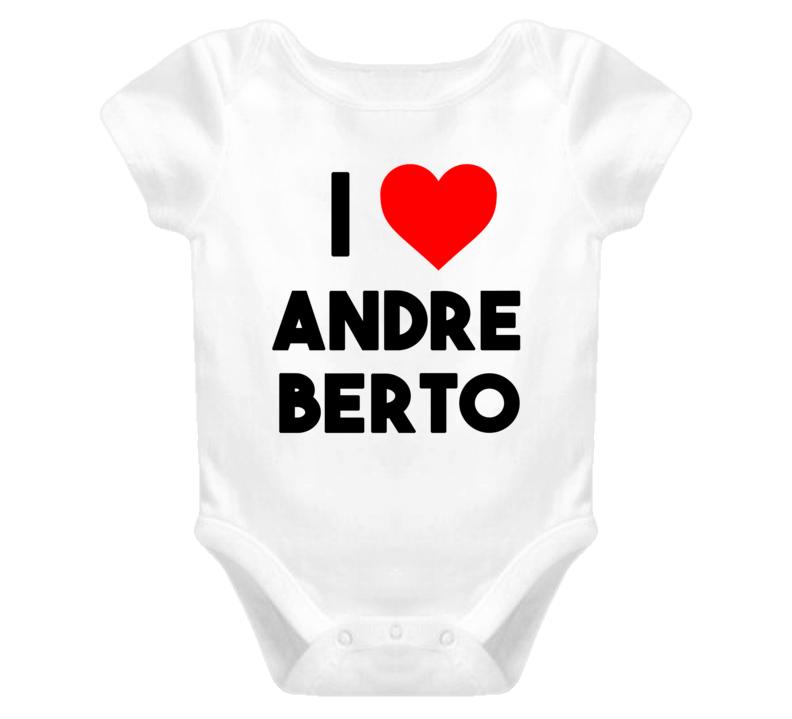 I Heart / Love Andre Berto (Black Bold Font) Baby One Piece