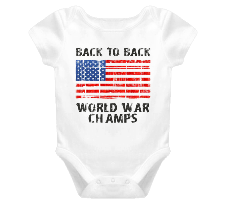 Distressed Back To Back World War Champs USA Pride (Grey Font) Baby Onesie
