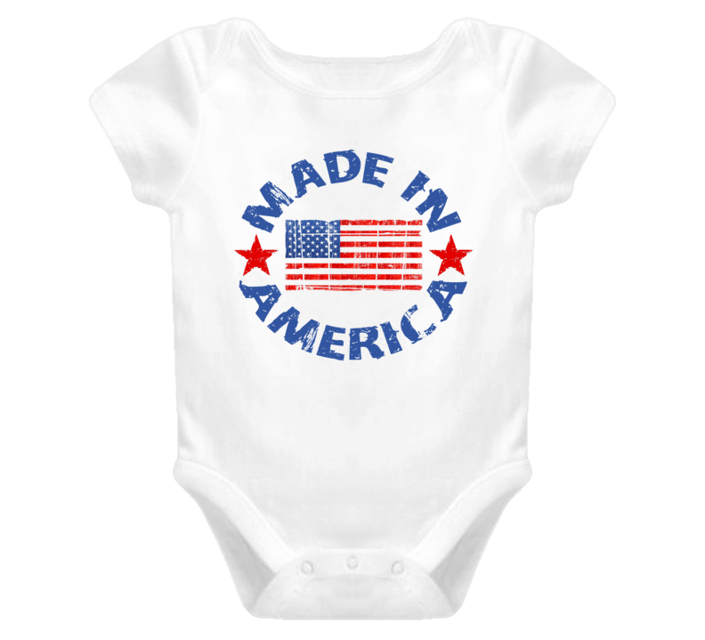 Distressed Made In America (Blue Font) Baby Onesie T Shirt