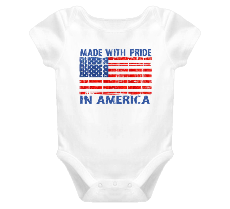 Distressed Made With Pride In American (Blue Font) Baby Onesie T Shirt