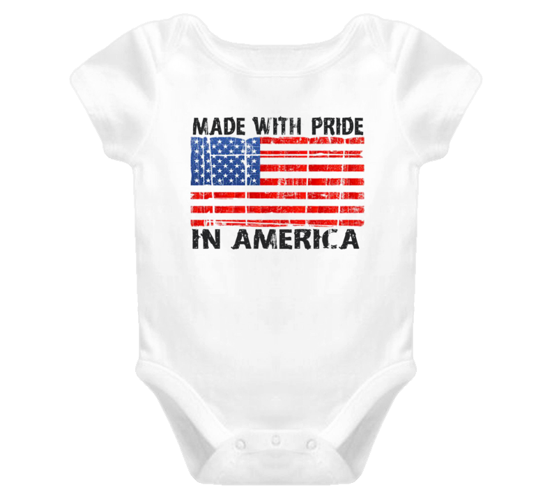 Distressed Made With Pride In American (Grey Font) Baby Onesie T Shirt