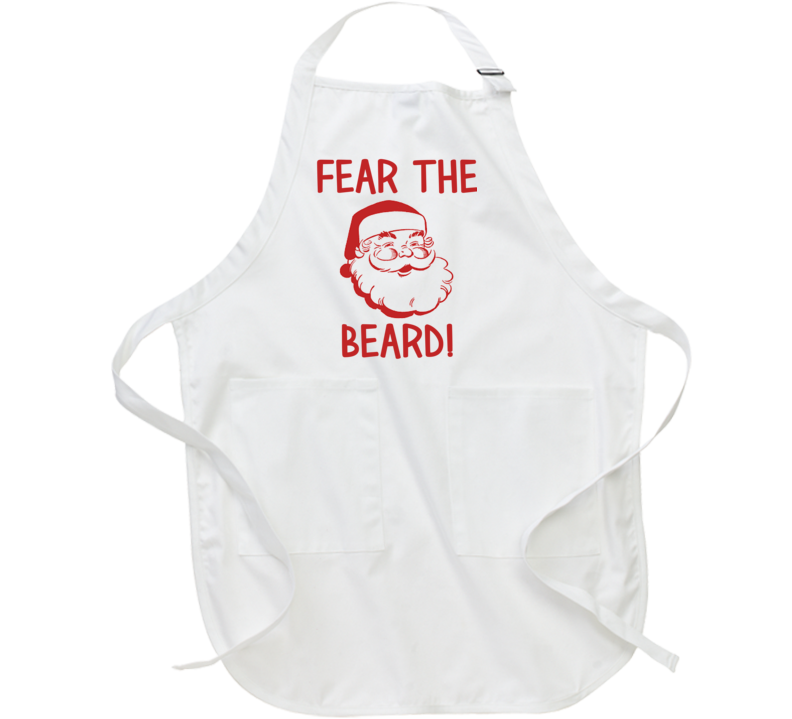 Fear The Beard (Red Font) Funny Christmas Santa Apron