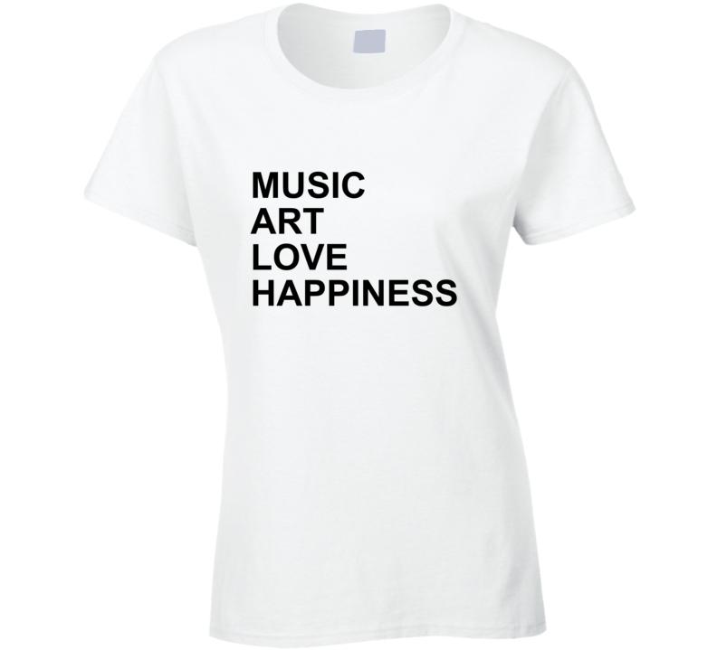 Music Love Art Happiness Jlo Jennifer Lopez Inspired Gym Ladies T Shirt