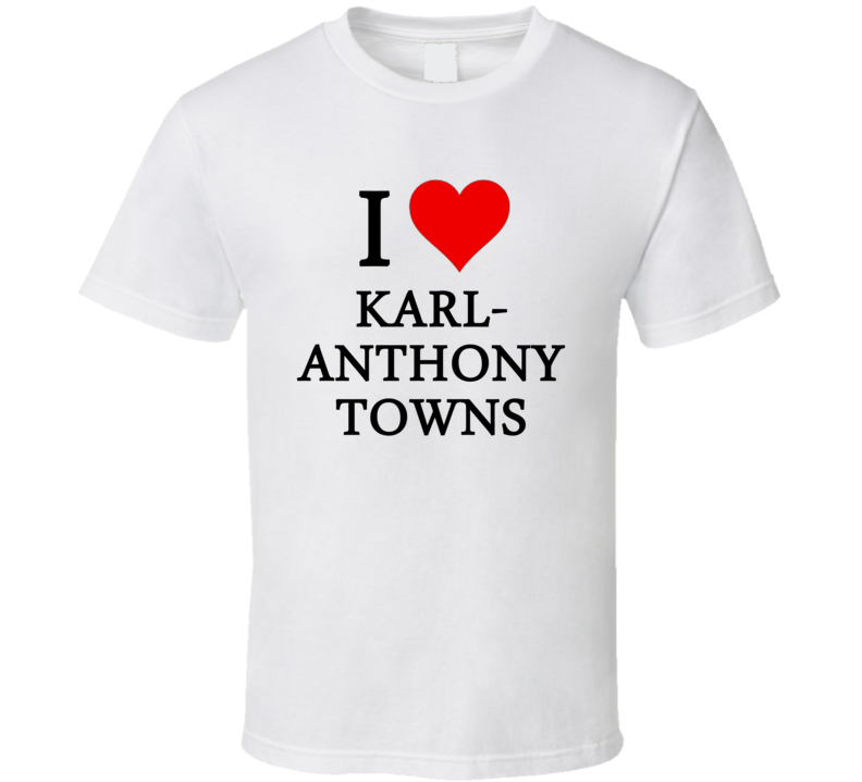 I Heart / Love Karl-Anthony Towns (Black Font) Basketball T Shirt