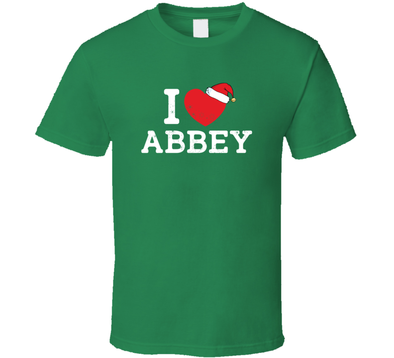 I Heart Love Abbey Christmas Cute Custom Name Family Friend Gift T Shirt