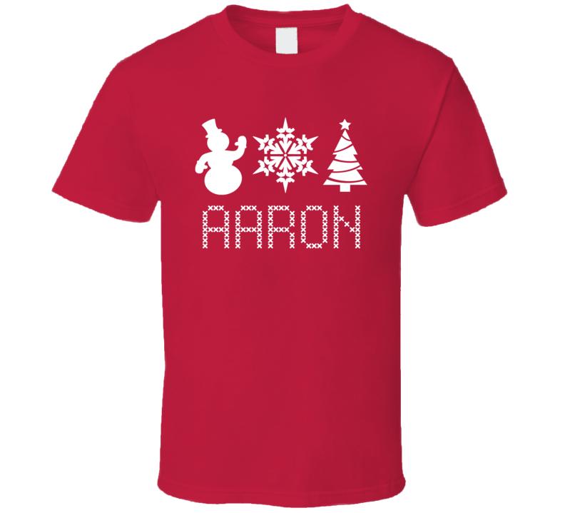 Aaron Snowman Snowflake Christmas Tree Cute Name Holiday Gift T Shirt