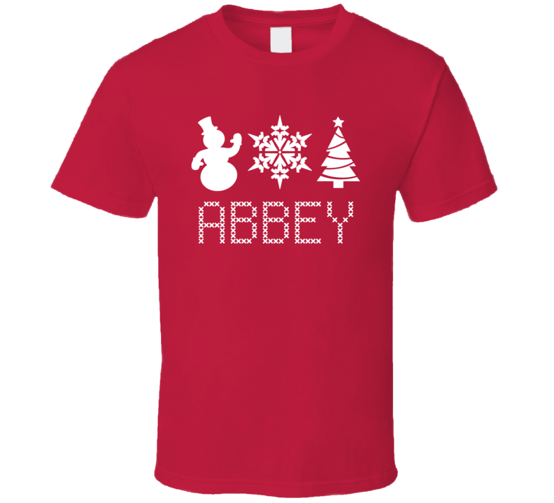 Abbey Snowman Snowflake Christmas Tree Cute Name Holiday Gift T Shirt