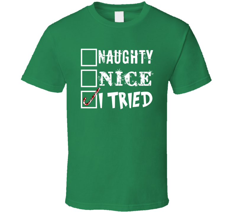 Naughty Nice I Tried Candy Cane Funny Santa's Check List Christmas Gift T Shirt