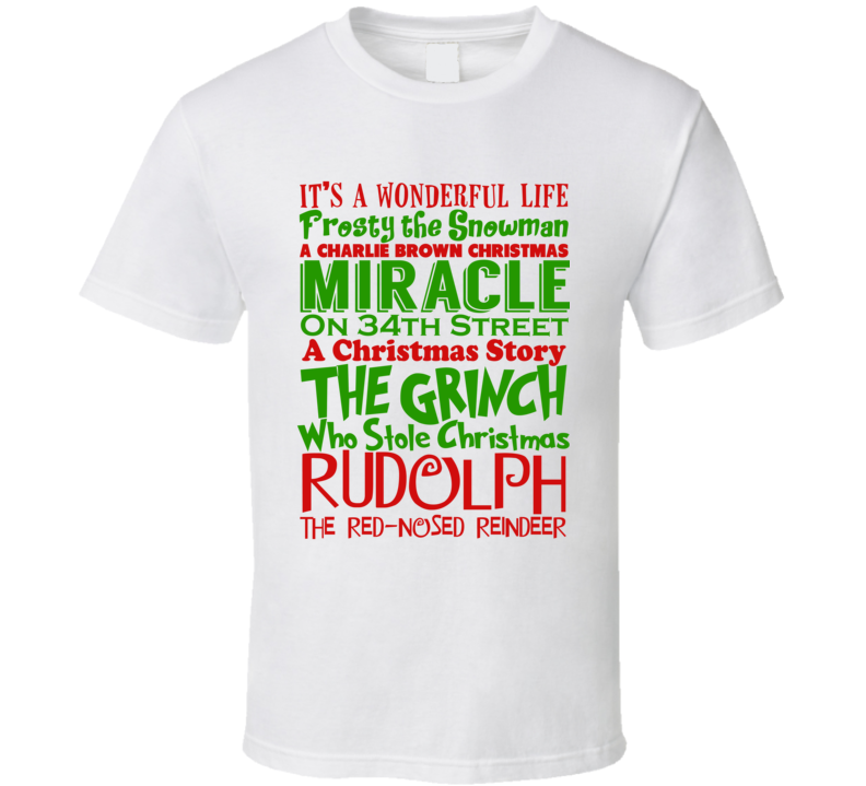 Popular Classic Christmas Movie Title Mashup Holiday Love Gift T Shirt