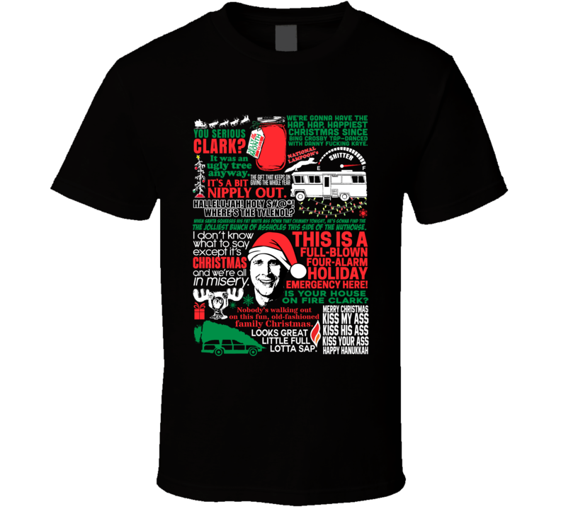 National Lampoon's Christmas Vacation Holiday Movie Quote Mashup T Shirt