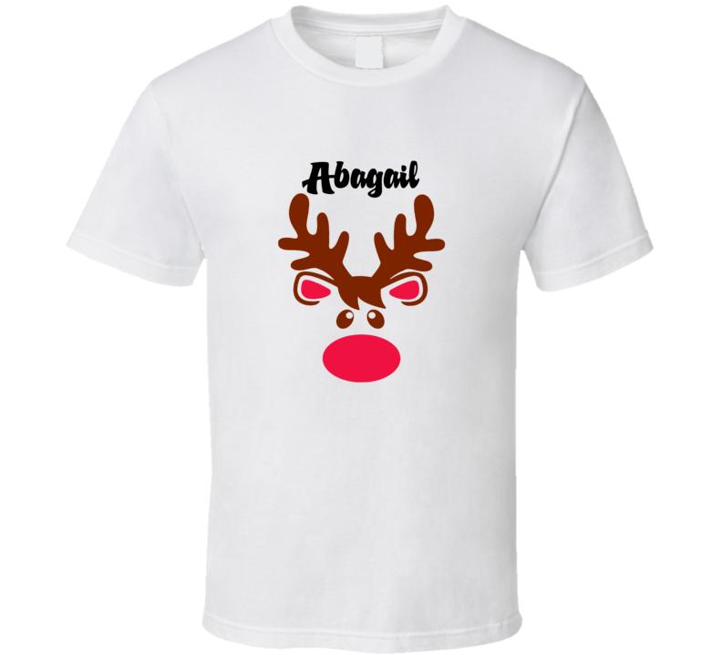 Abagail Reindeer Face Cute Custom Name Christmas T Shirt