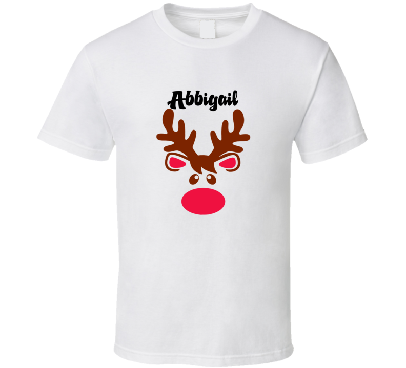 Abbigail Reindeer Face Cute Custom Name Christmas T Shirt