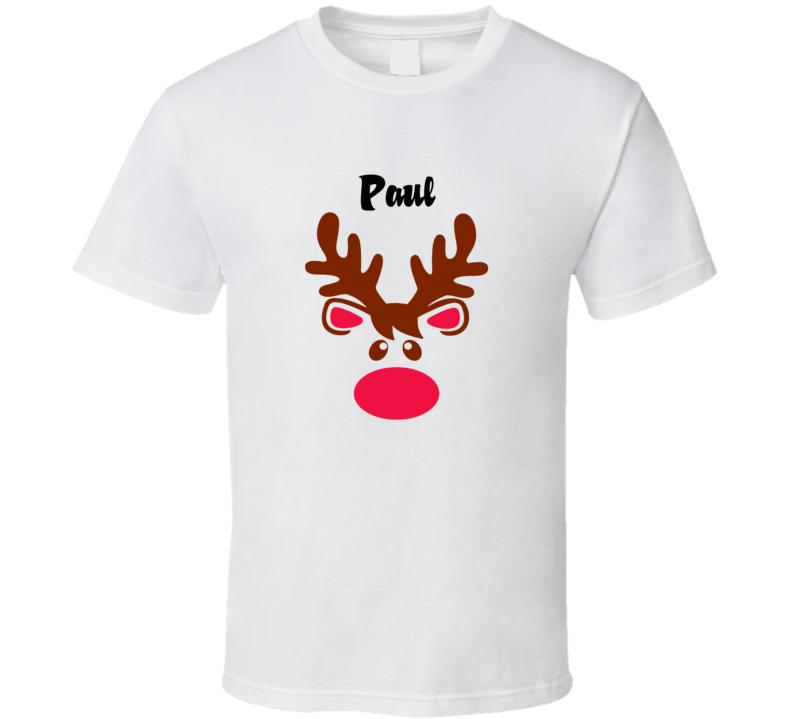 Paul Reindeer Face Cute Custom Name Christmas T Shirt