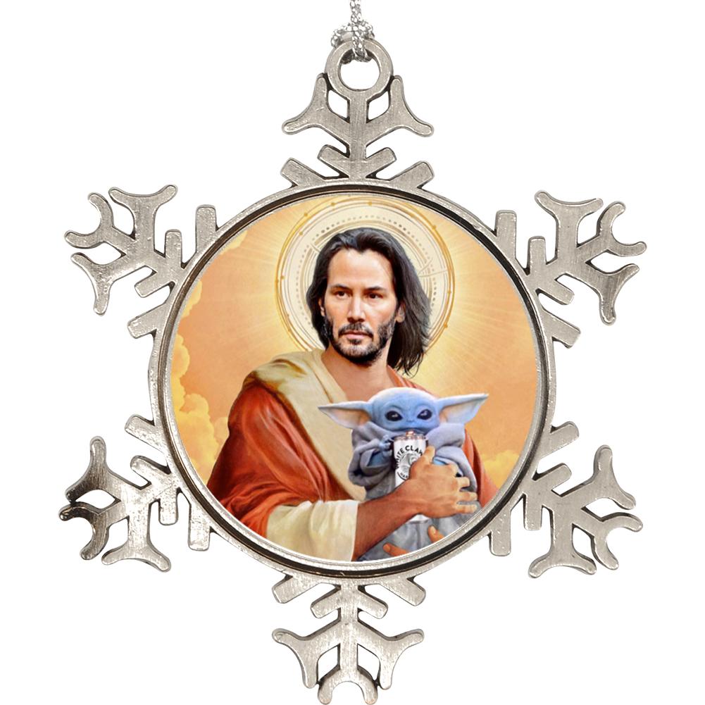 Keanu Reeves Jesus Baby Yoda White Claw Mashup Moist Buddha Fan Holiday Ornament