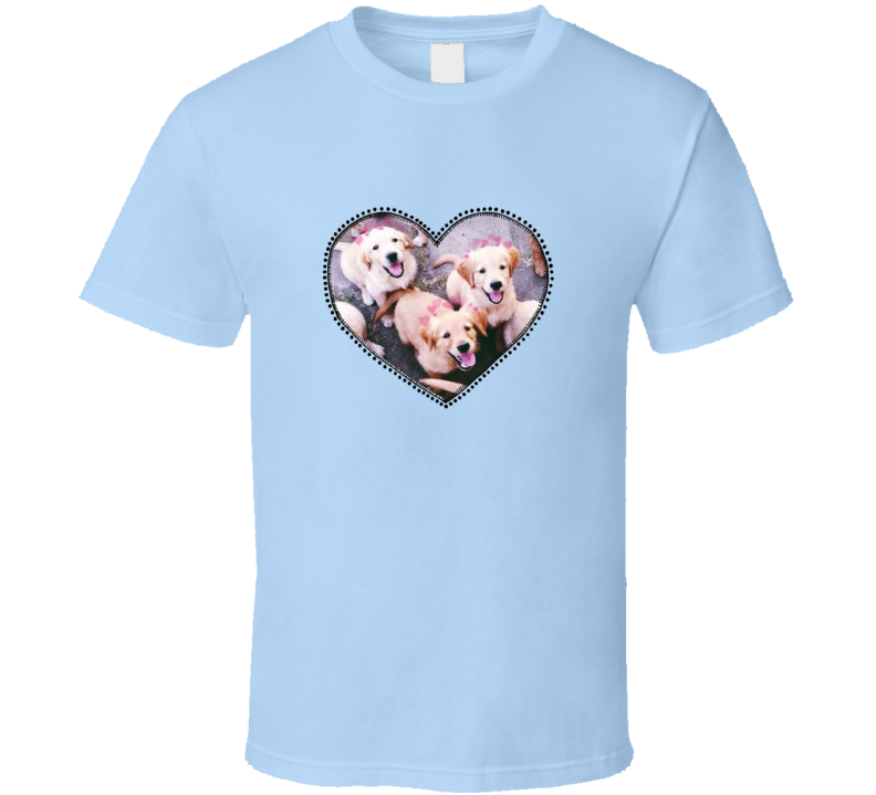 Golden Retriever Puppies Cute Heart Dogs T Shirt