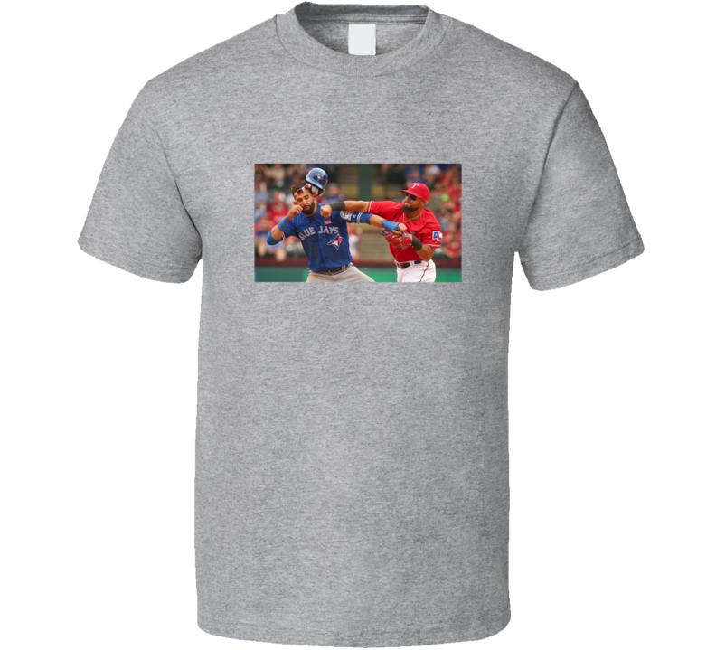 Toronto Baseball Versus Texas Rougned Odor Bautista Punch Texas Jose Bautista Punch Baseball Fan T Shirt