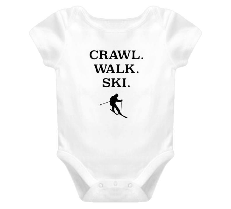 Crawl. Walk. Ski. Baby Onesie