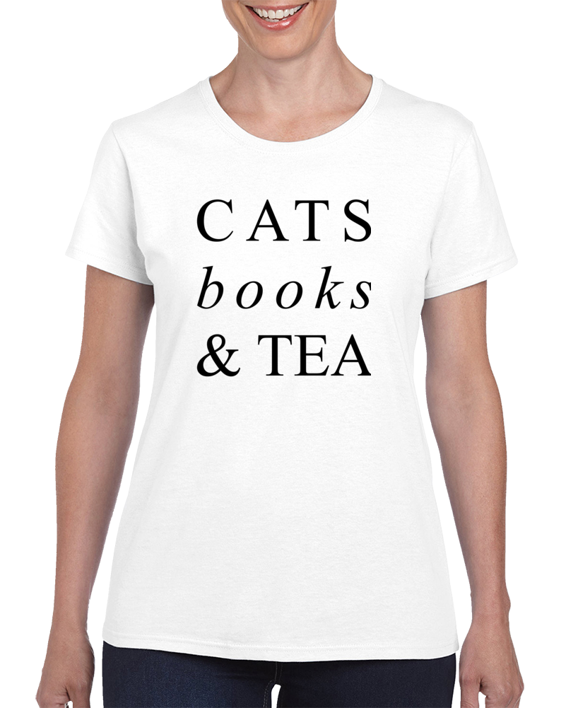 Cats Books & Tea T Shirt